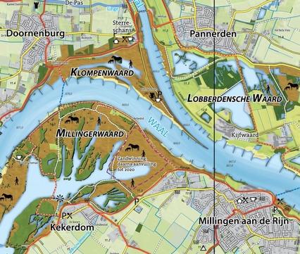 Wandel- en fietskaart Gelderse Poort, Millingerwaard