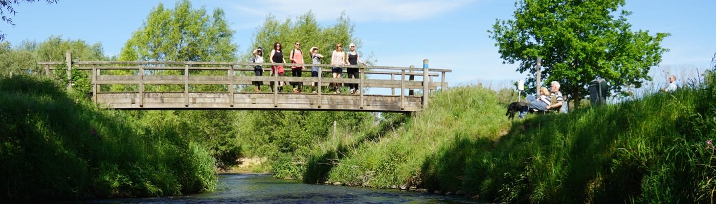 Geuldal wandelaars op brug