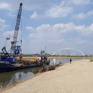 Plaatsing rivierhout Spiegelwaal, foto: Bart Beekers
