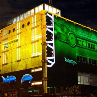 Lichtprojectie Haringvlietsluizen