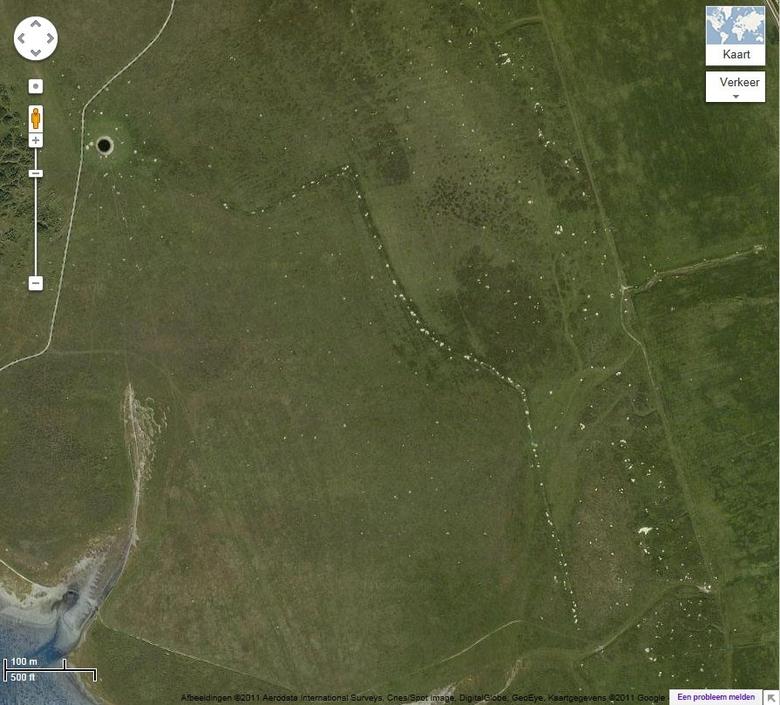 Stierenkuilen in natuurgebied de Slikken van Flakkee. Bron: Google Maps
