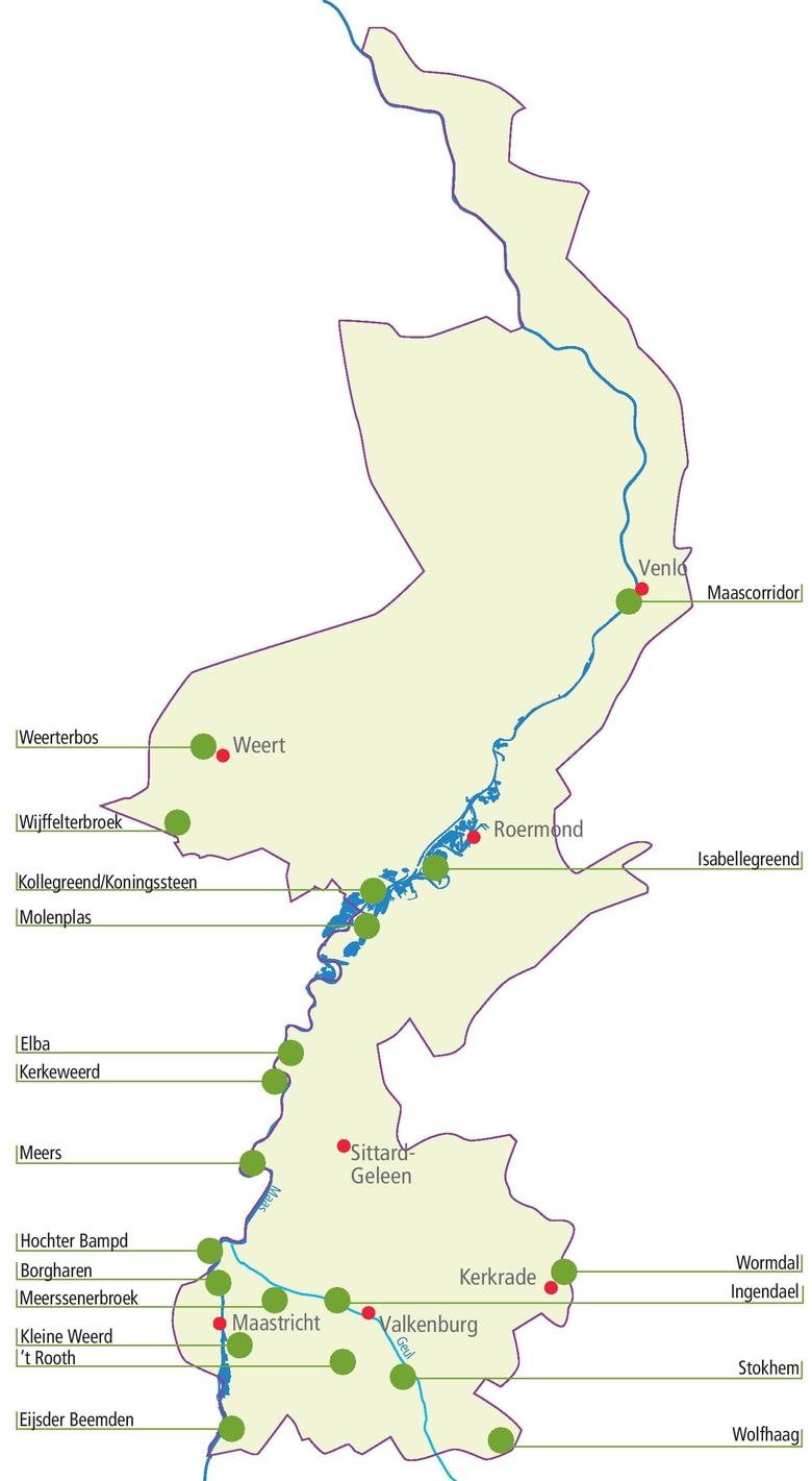 Locaties ARK veldlessen in Limburg in de afgelopen 25 jaar