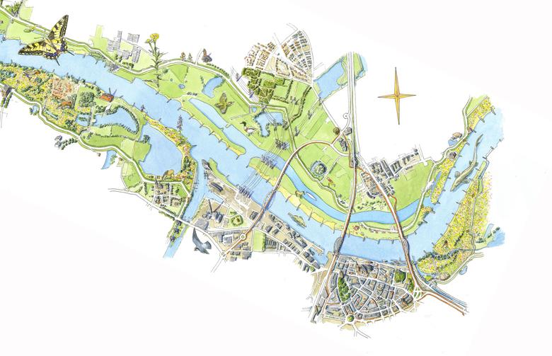 Veur Lent ligt tussen de Gelderse Poort en Beuningen Tekening Jeroen Helmer/ARK