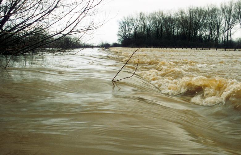 Fietspad op hoge rug Colenbrandersbos overstroomd Hoogwater Millingerwaard 1995