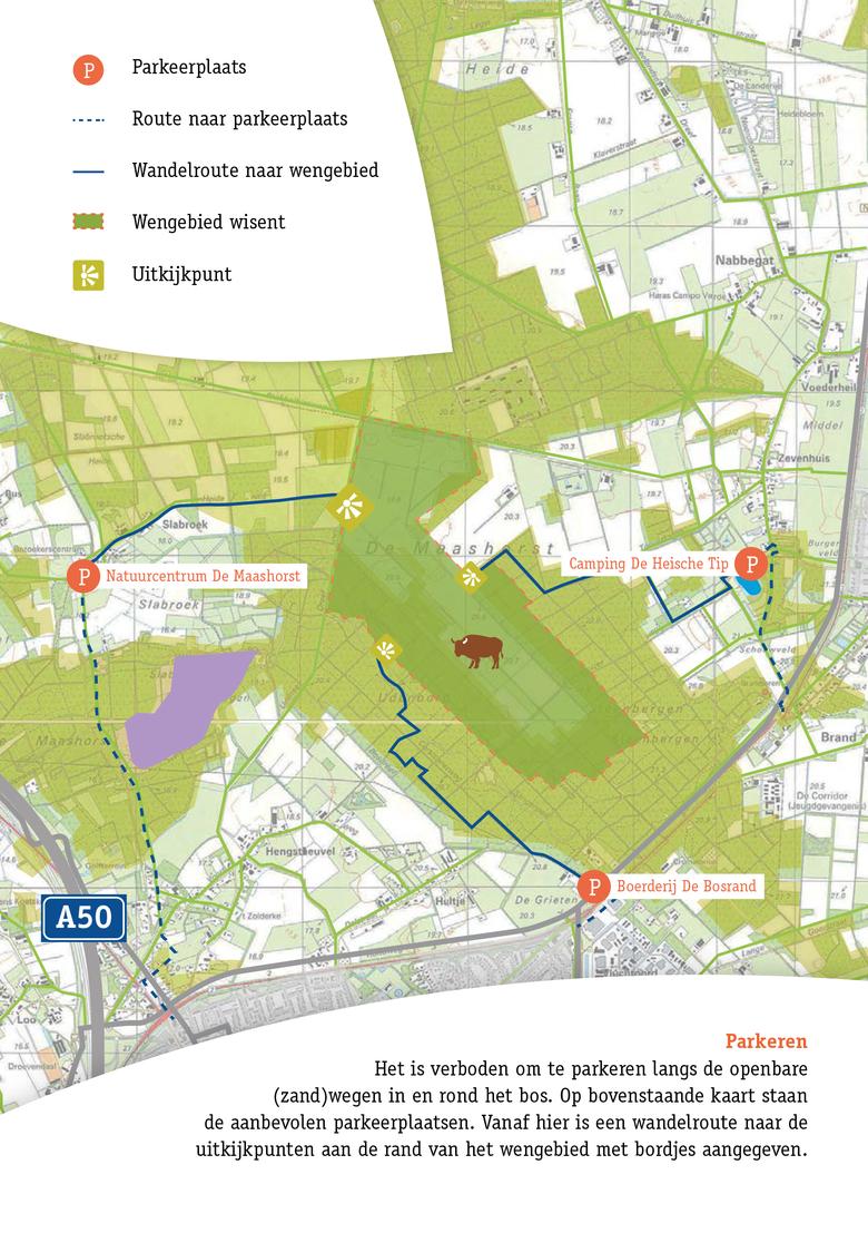 Kaart wisent Maashorst met wandelroutes