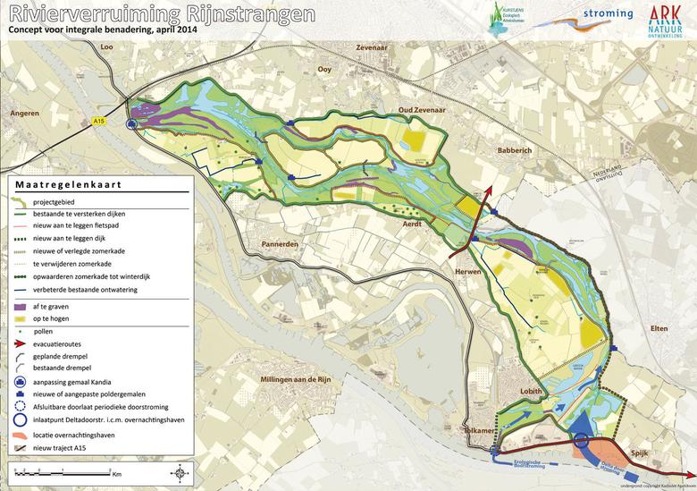 Rivierverruiming Rijnstrangen kaart 2014