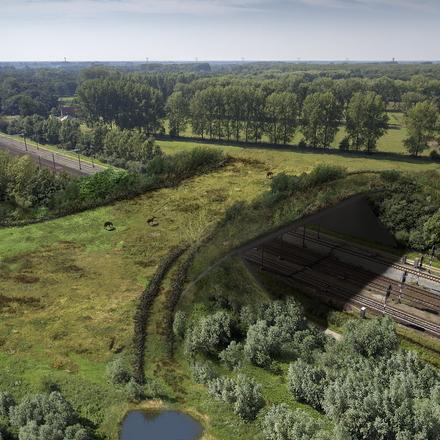 Toekomstimpressie spoorwegecoduct de Mortelen. Bron: ProRail.